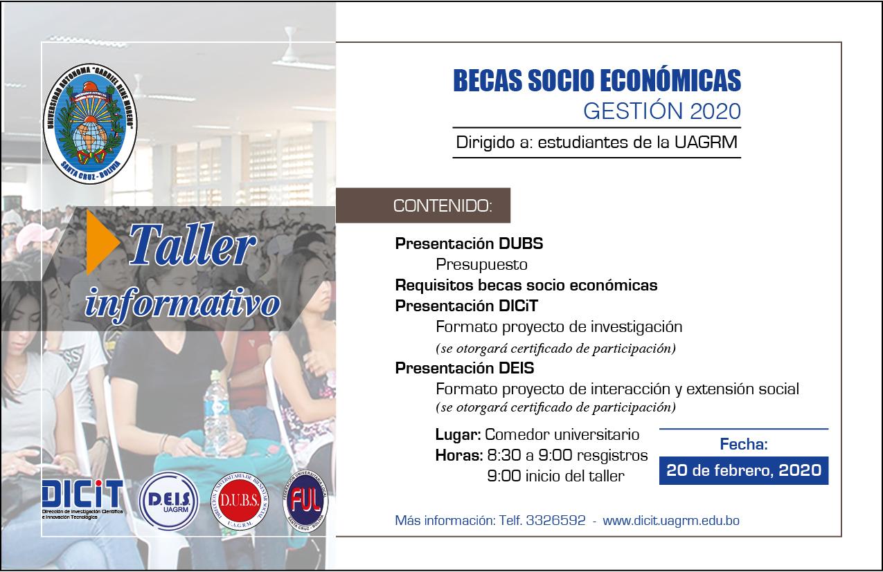 Becas socio económicas, dirigidos a estudiantes de la UAGRM.