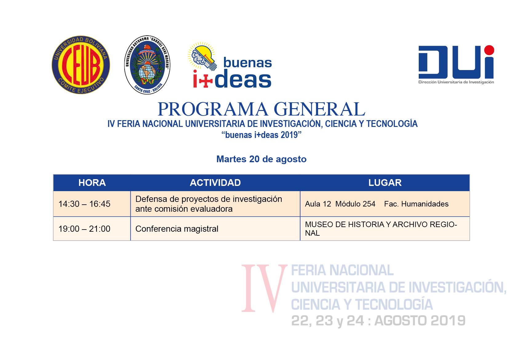 PROGRAMA GENERAL buenas i+deas 20 de agosto