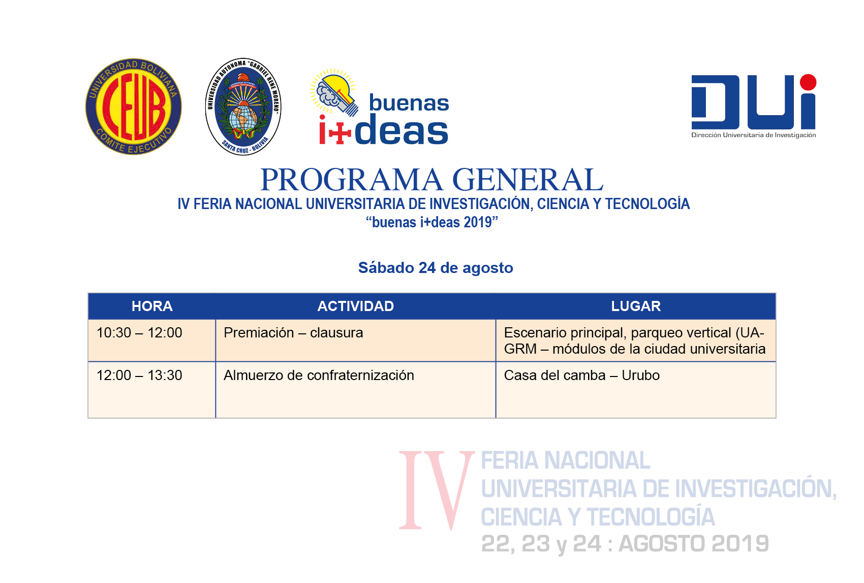 PROGRAMA GENERAL buenas i+deas 24 de agosto