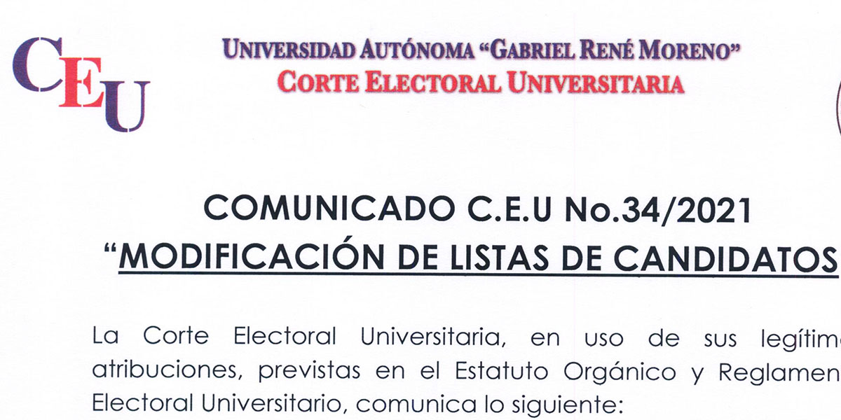 Nº 34/2021 A LA COMUNIDAD UNIVERSITARIA