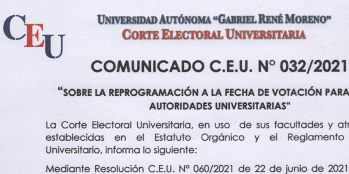 Nº 32/2021 A LA COMUNIDAD UNIVERSITARIA