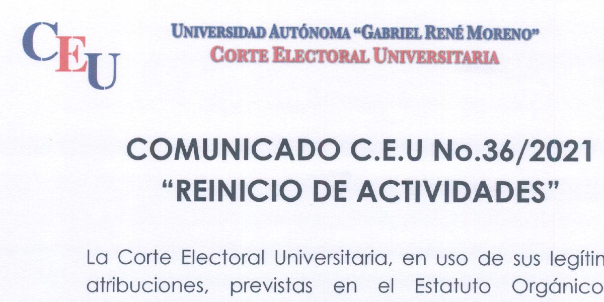 Nº 36/2021 A LA COMUNIDAD UNIVERSITARIA