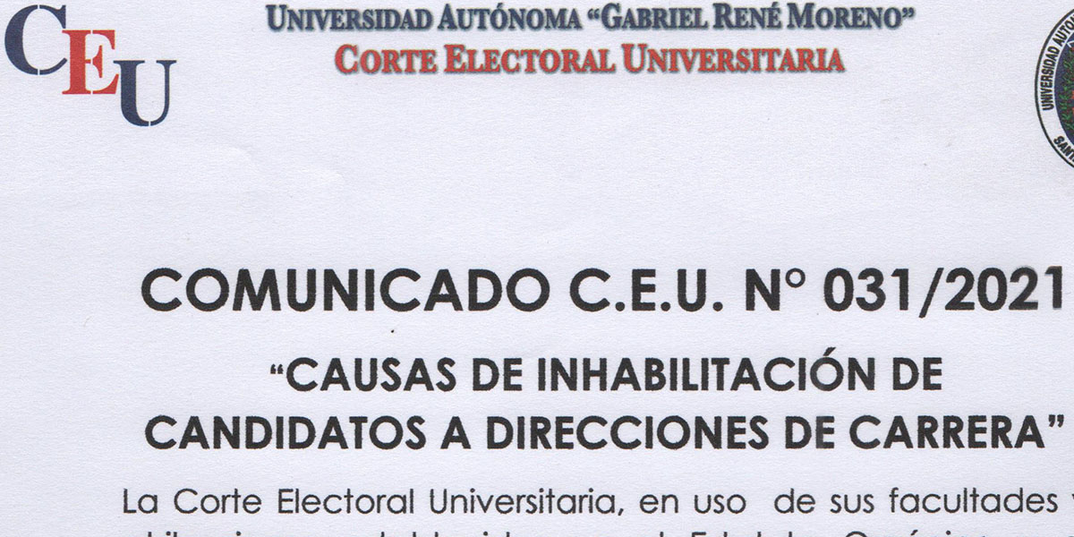 CAUSALES DE INHABILITADOS A DIRECTOR DE CARRERA - CLAUSTRO UNIVERSITARIO