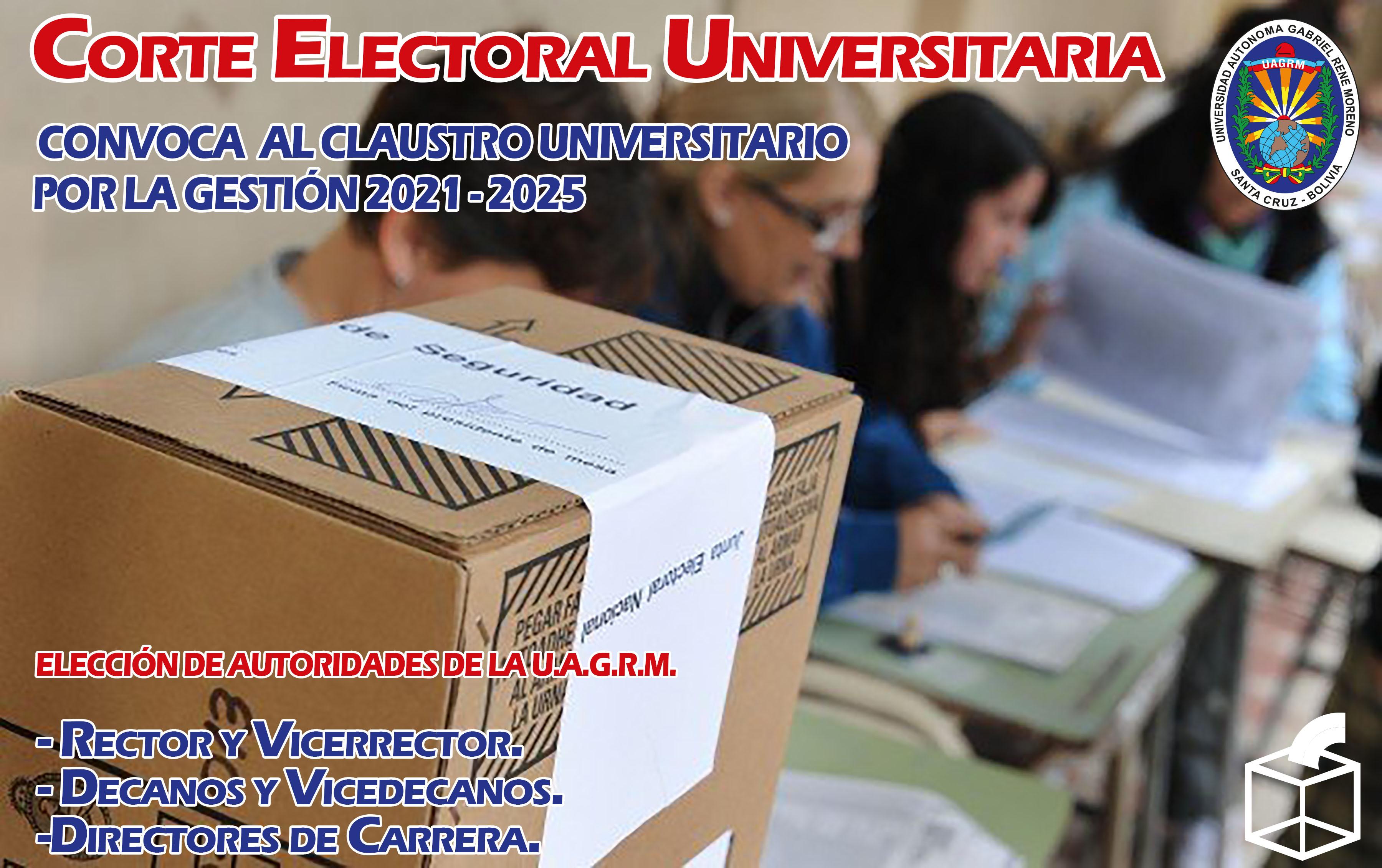 CONVOCATORIA 01-2021 AL CLAUSTRO UNIVERSITARIO GESTIÓN 2021 – 2025
